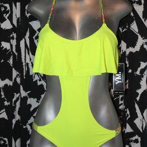 Neon Cutout Bathing Suit